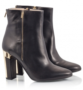 Alberto Guardiani Gladys Black Vitello Leather High Block Heel Ankle Boots With Zipper Black