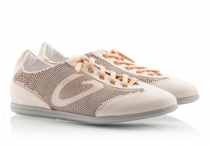 Alberto Guardiani Viola Beige Suede Perforated Leather G-Logo Sneakers Beige