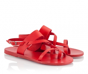 Ancient Greek Sandals Alethea Red Leather Straps Flat Sandals Red