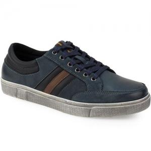 Ανδρικά Δερμάτινα Sneakers Με Ρίγιες Μπλε