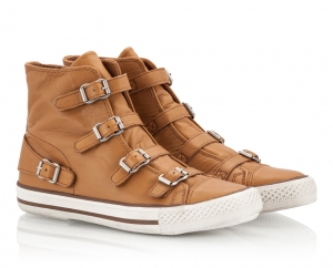 Ash Virginia Camel Soft Nappa Leather High Top Buckled Flat Sneakers Camel