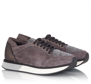 Eddy Daniele Grey Suede Leather