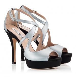 df4e7cd987 Fratelli Karida Grey And Black Leather Crossover Peep-Toe High Heel Platform  Sandals Grey