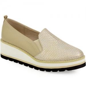 Γυναικεία Loafers Με Ελαστική Σόλα Μπεζ