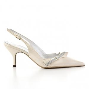 Γυναικεία Παπούτσια Kαλογήρου Private Label-Δέρμα Σεβρώ Και υφασμα Σατέν Με Στρας