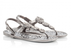 Holster Glamazon Shimmery Glass Bead Grey Jelly Flat Sandals Grey