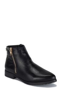 Κροκό Ankle Boots Με Φερμουάρ