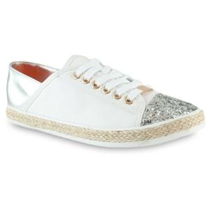 Λευκά Sneakers Με Ασημί Λεπτομέριες