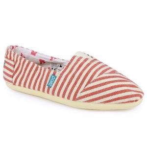 Loafers Από Πανί Ριγέ Κόκκινο