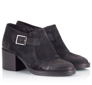 Logan Black Suede Leather