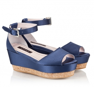 Logan Blue Satin Ankle Strap