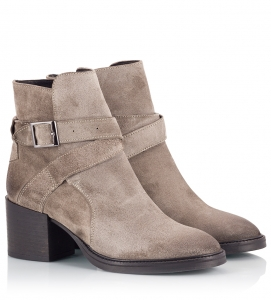 Logan Grey Suede Leather Ankle-Strap