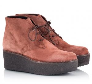 Logan Redbrown Suede Crepe Flatform Desert Boots Καφέ
