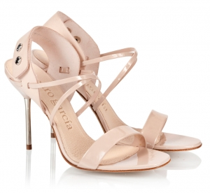 Pedro Garcia Maddison Spike Heel Crystal Snap Sandals Rose