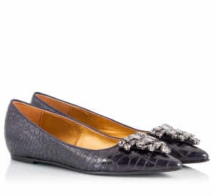 Ras Black Croc-Effect Leather