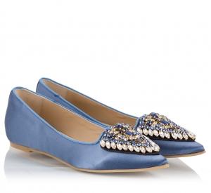 Ras Blue Satin Crystal Embellished