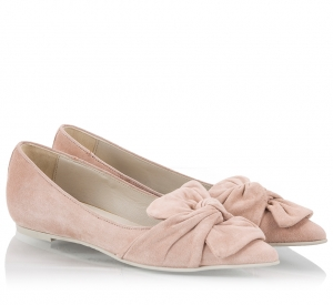 Ras Nude Suede Leather Bow