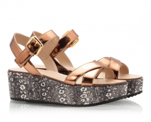 Vicini Bronze Leather Criss-Cross