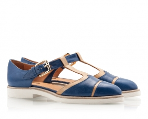 Zamagni Blue And Beige Leather